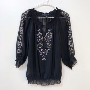 Elena Solano NYC Floral Embroidered Black Blouse